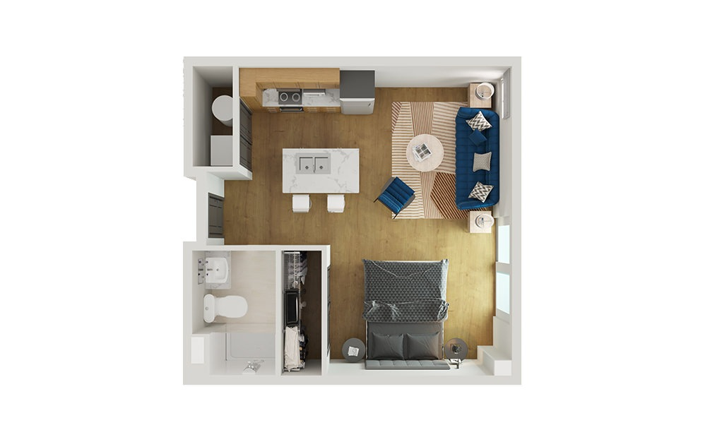 Type 6 - Studio floorplan layout with 1 bath and 553 square feet.