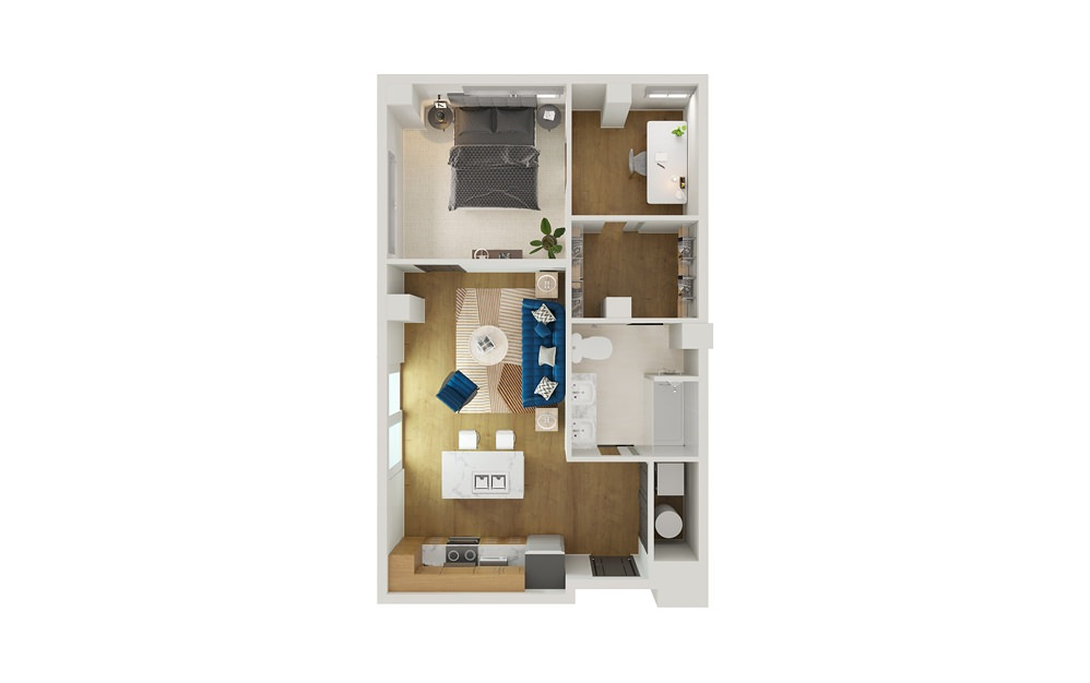 Type 1 - 1 bedroom floorplan layout with 1 bath and 737 square feet.