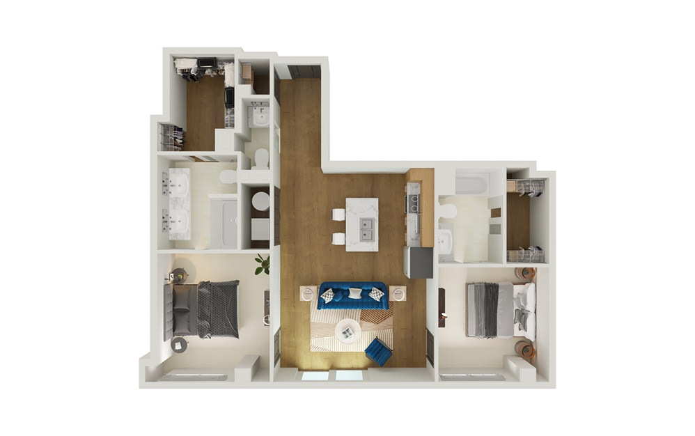 Type 10 - 2 bedroom floorplan layout with 2.5 baths and 1149 square feet.