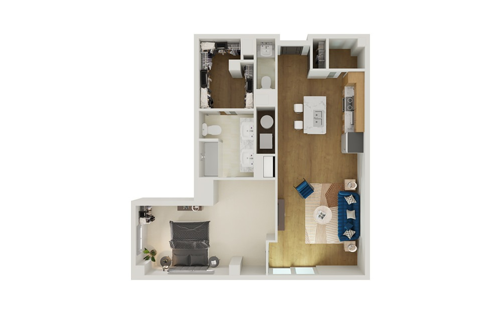Type 11C - 1 bedroom floorplan layout with 1.5 bath and 951 to 1015 square feet.
