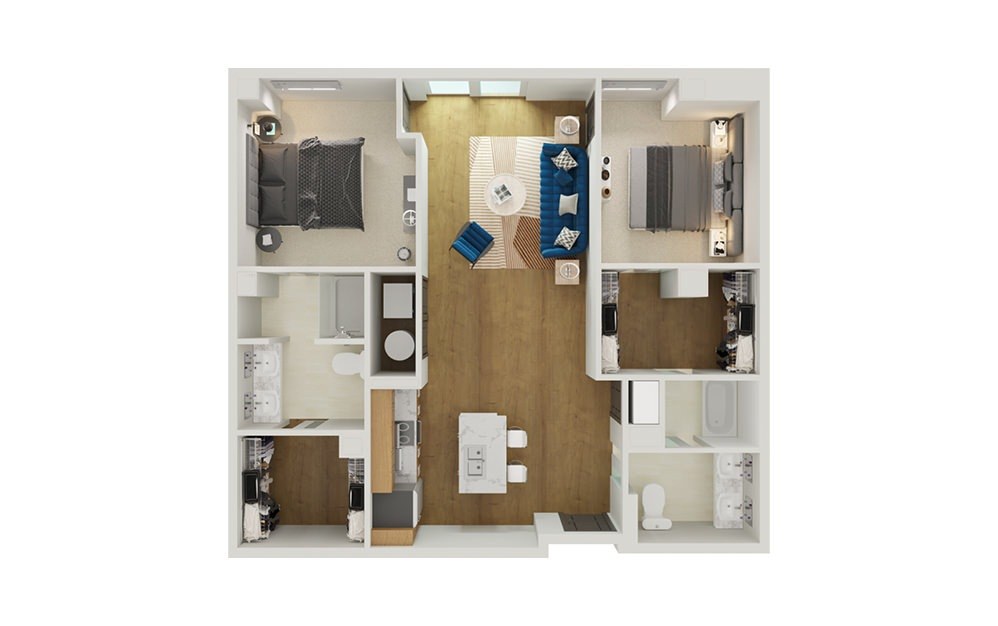 Type 3A - 2 bedroom floorplan layout with 2 baths and 1221 square feet.