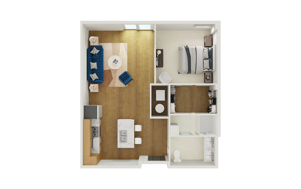 Type 4B - 1 bedroom floorplan layout with 1 bath and 807 to 864 square feet.