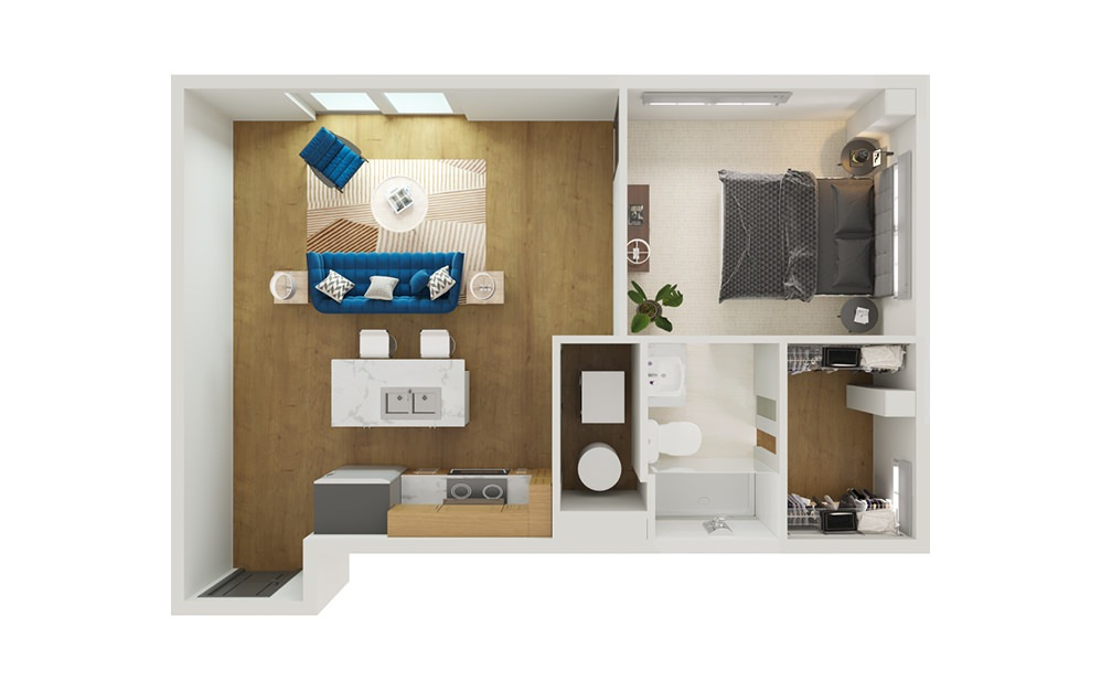 Type 5 - 1 bedroom floorplan layout with 1 bath and 683 square feet.