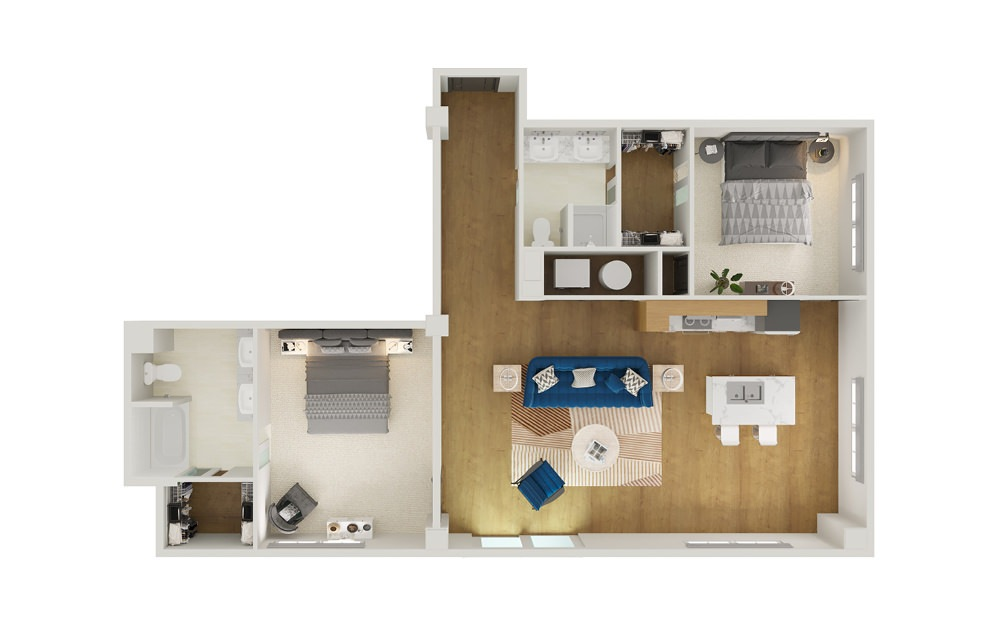 Type 7A - 2 bedroom floorplan layout with 2 baths and 1281 square feet.