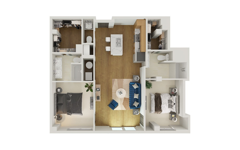 Type 8A - 2 bedroom floorplan layout with 2.5 baths and 1284 square feet.