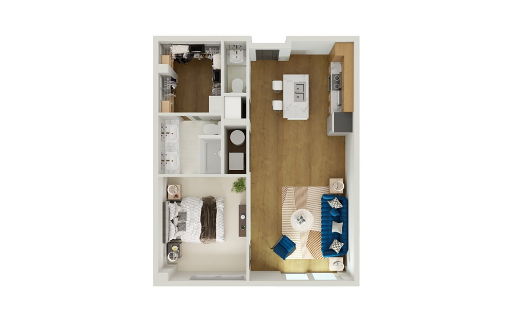 Type 8B - 1 bedroom floorplan layout with 1 bath and 909 to 931 square feet.