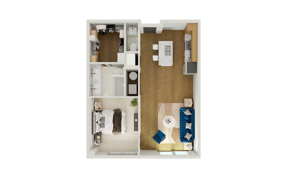 Type 9 - 1 bedroom floorplan layout with 1 bath and 909 to 931 square feet.